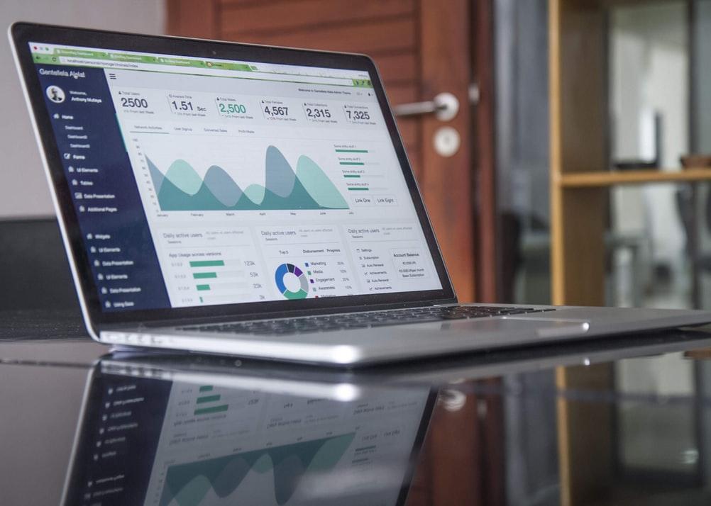 Statistics on a laptop.