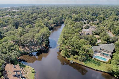 The 11-mile lagoon system Palmetto Dunes