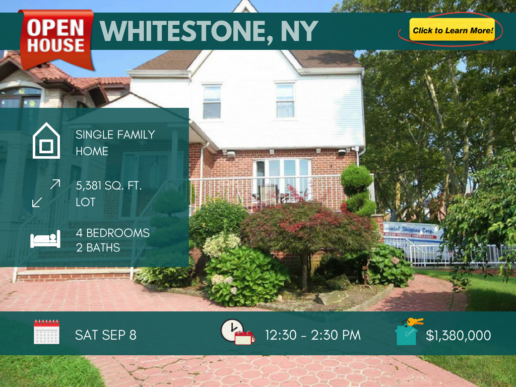 detached colonial home for sale in Whitestone NY