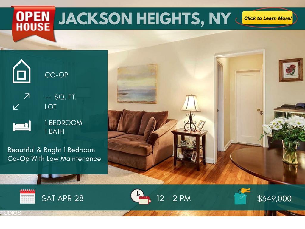 1 bedroom Jackson heights coop