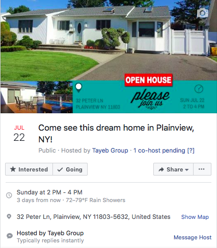 Open house fb invite