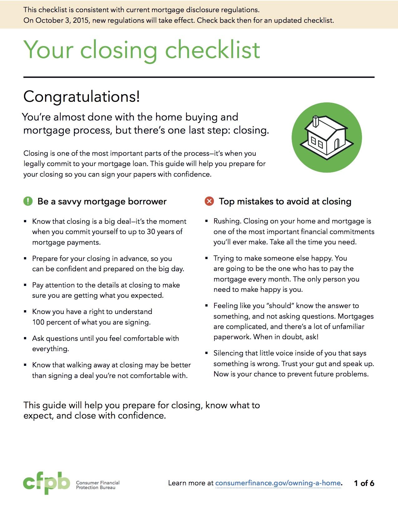 mortgage loan closing checklist