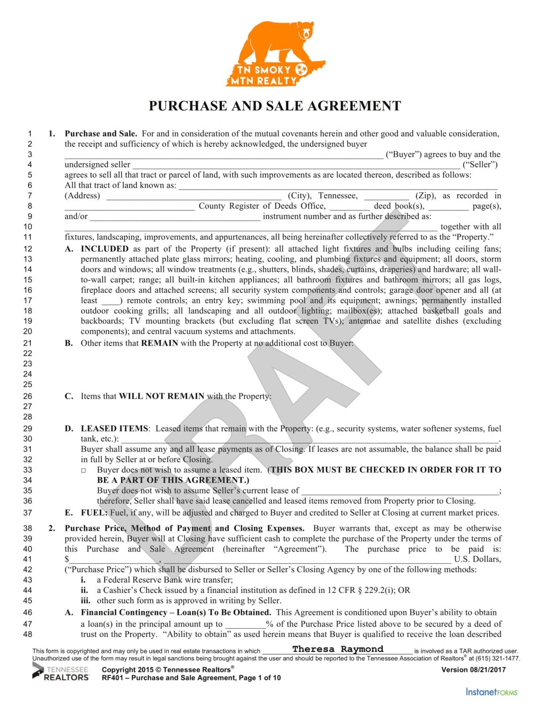 Necessary Documents To Purchase Homes In Tennessee - Tennessee legal forms