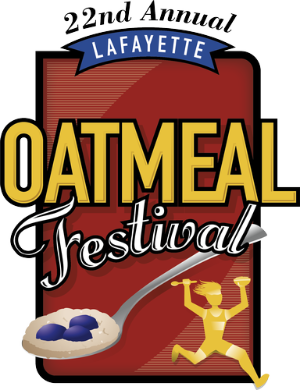 Logo reads 22nd Annual Lafayette Oatmeal Festival with images of a running figure and spoon of oatmeal with blueberries
