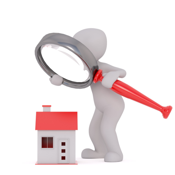 clip image of a large cartoon figure examine a smaller house with a magnifying glass