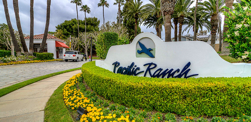 pacific ranch sign and gated entrance