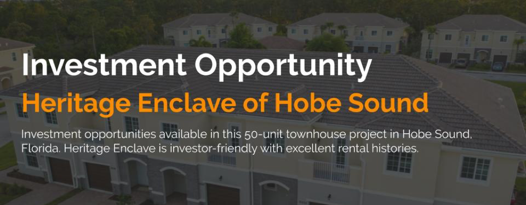 Investment opportunities at Heritage Enclave in Hobe Sound, Florida