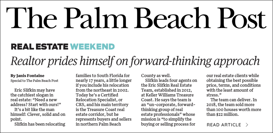 Palm Beach Post Article
