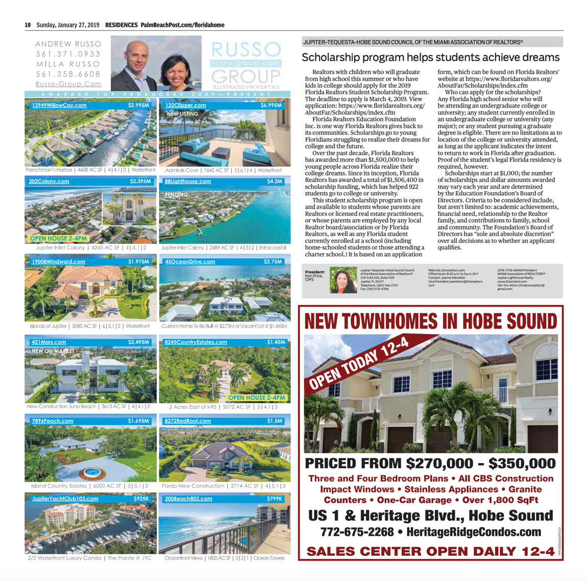 Palm Beach Post Residences Ad
