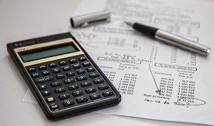 calculator and finance sheet