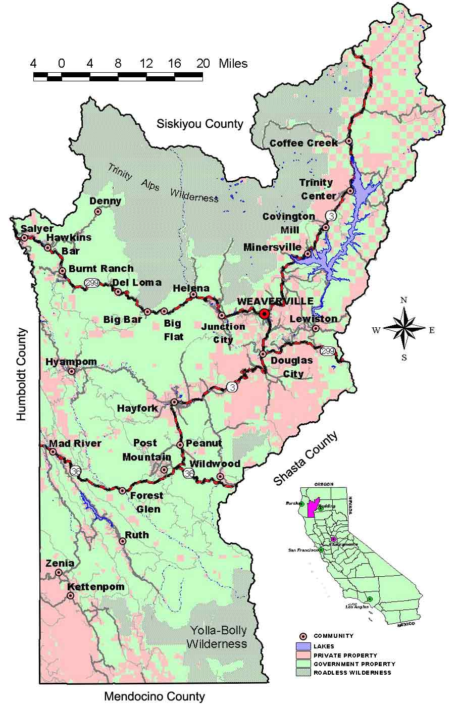 Trinity County Map showing towns and major highways
