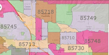 Map Of Tucson Arizona Zip Codes.Central Tucson Az
