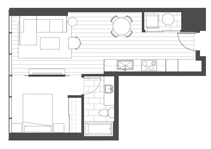 Ae'o 1 bedroom condo floorplan