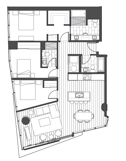 Ae'o 3 bedroom alternate floorplan