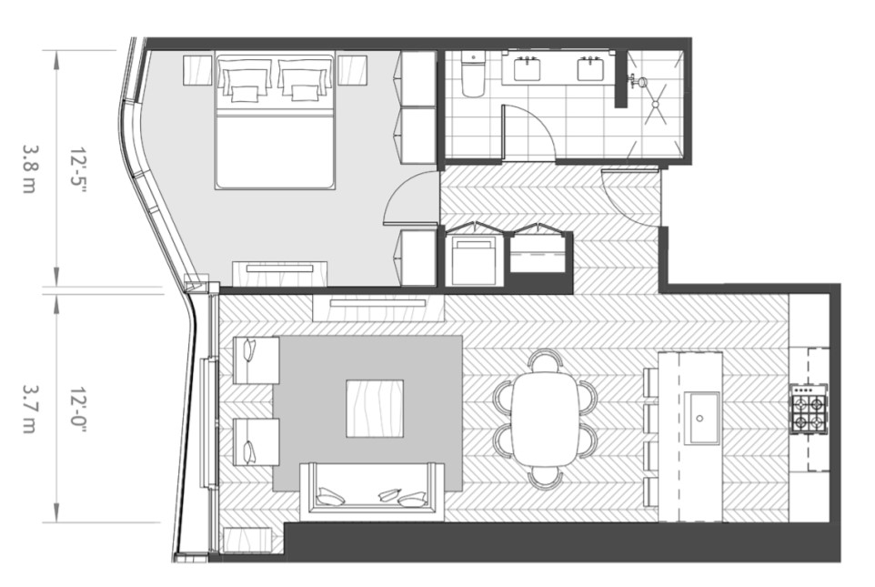 Anaha 1 bedroom floorplan