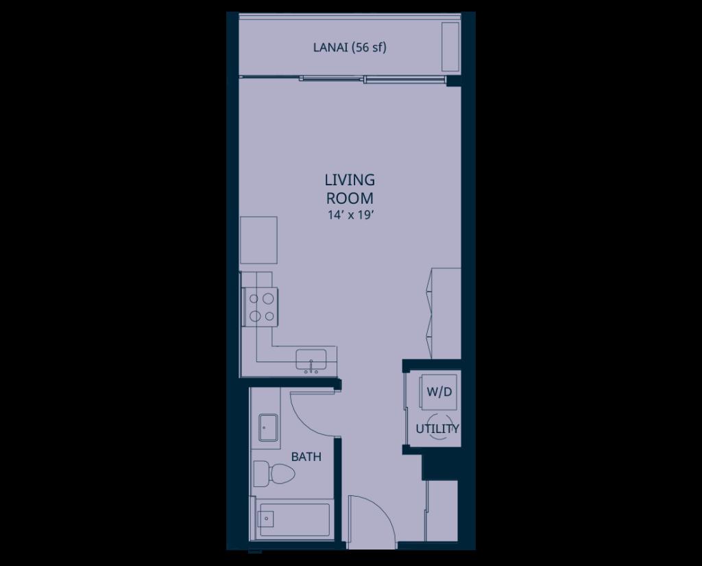 Kapiolani Residence studio floorplan