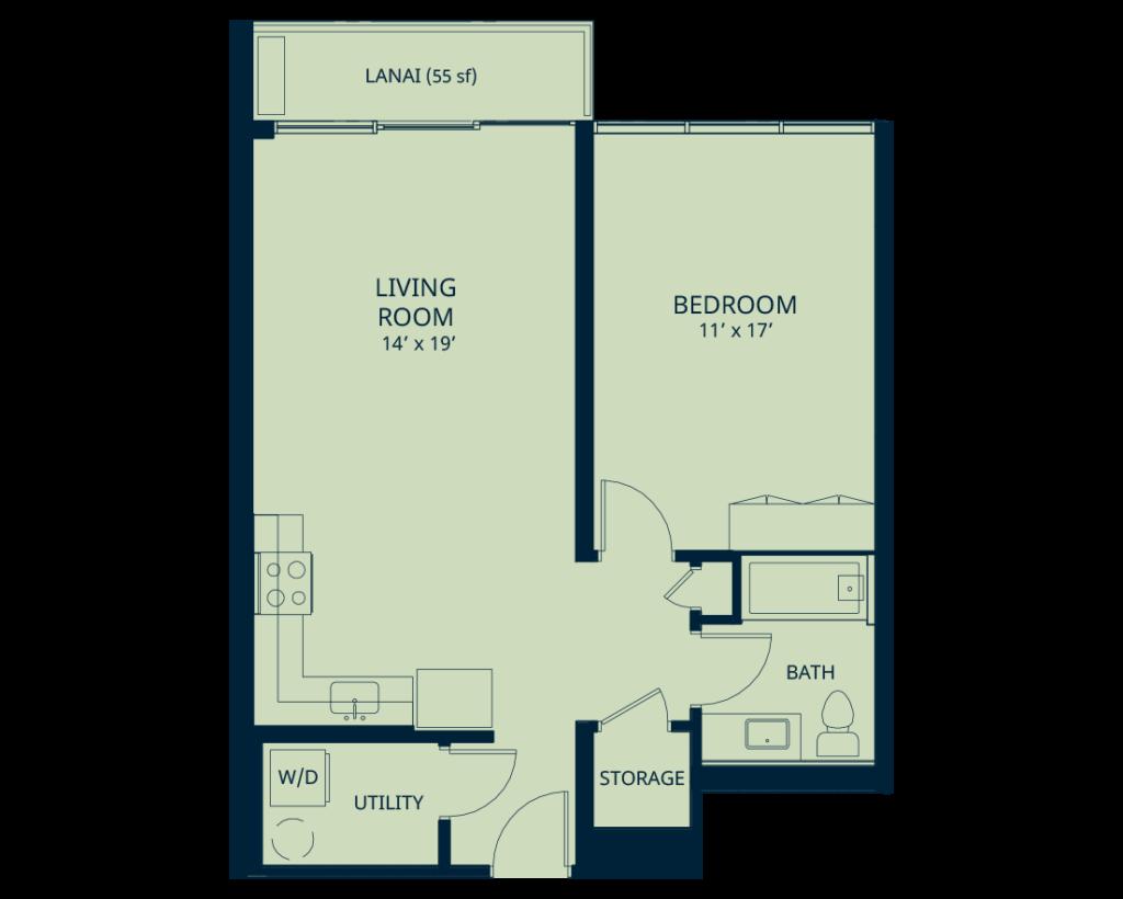kapiolani condo residence 1 bedroom floorplan