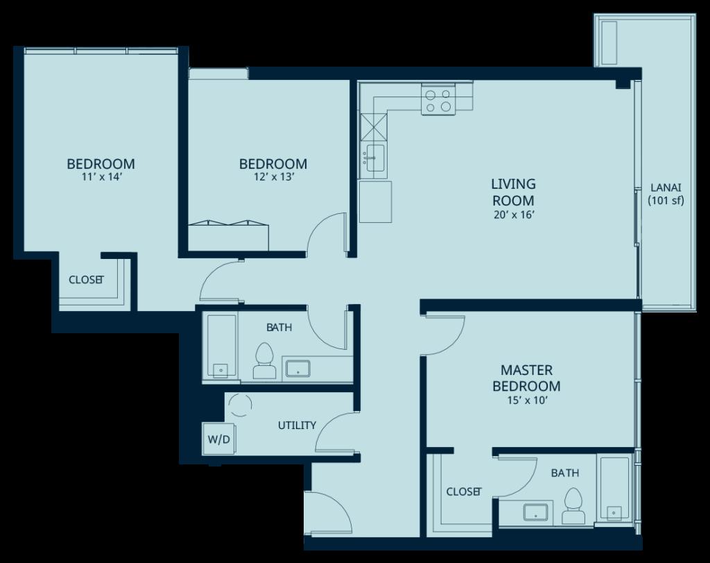 Kapiolani residence floorplan 3 bedroom
