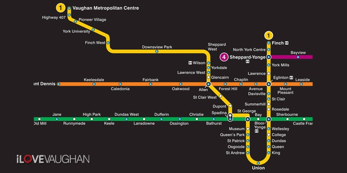 Vaughan TTC Subway Map