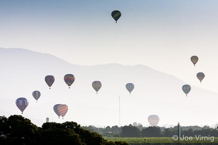 Multiple Balloons in the Distance, Santa Paula Balloon Festival