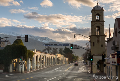 Downtown Ojai, Arcade and Snow covered Topa Topas