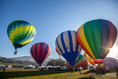Balloons Rising at Dawn at the Citrus Classic Balloon Festival in Santa Paula