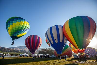 Balloons Rising at Dawn at the Citrus Classic Balloon Festival in Santa Paula
