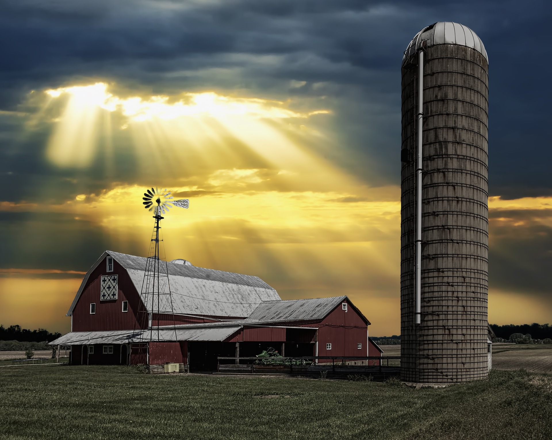 Heavenly Barn on Maryland Farm with Windmill and Quilt