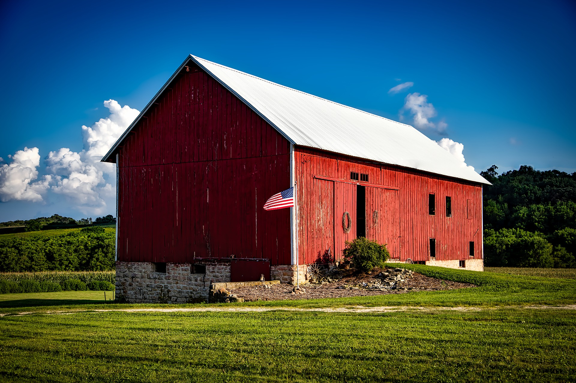 Old Red Barn with American Flag