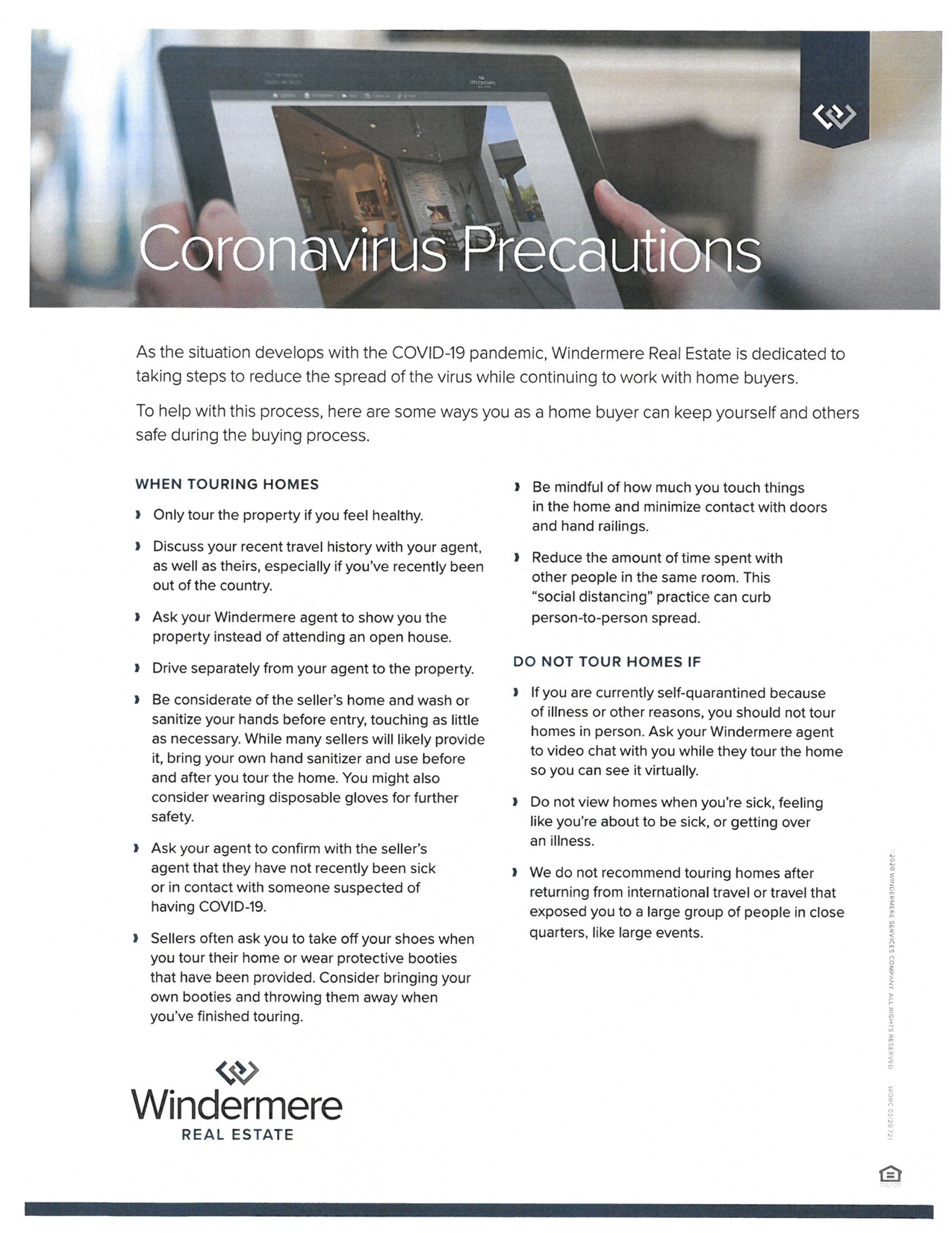 Coronavirus (COVID-19) and The Housing Market Saftey When Touring Homes