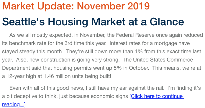 Read Further November 2019 Seattle Real Estate Market Update