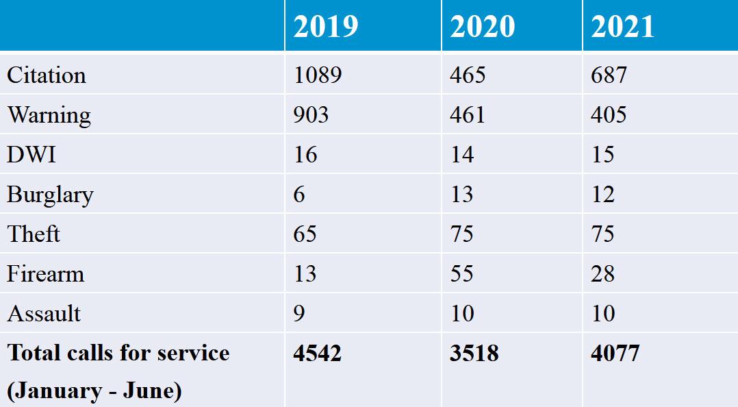 Wayzata Crime Statistics YTD 2021