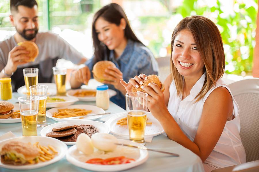 Eat burgers near Lake Delton homes.