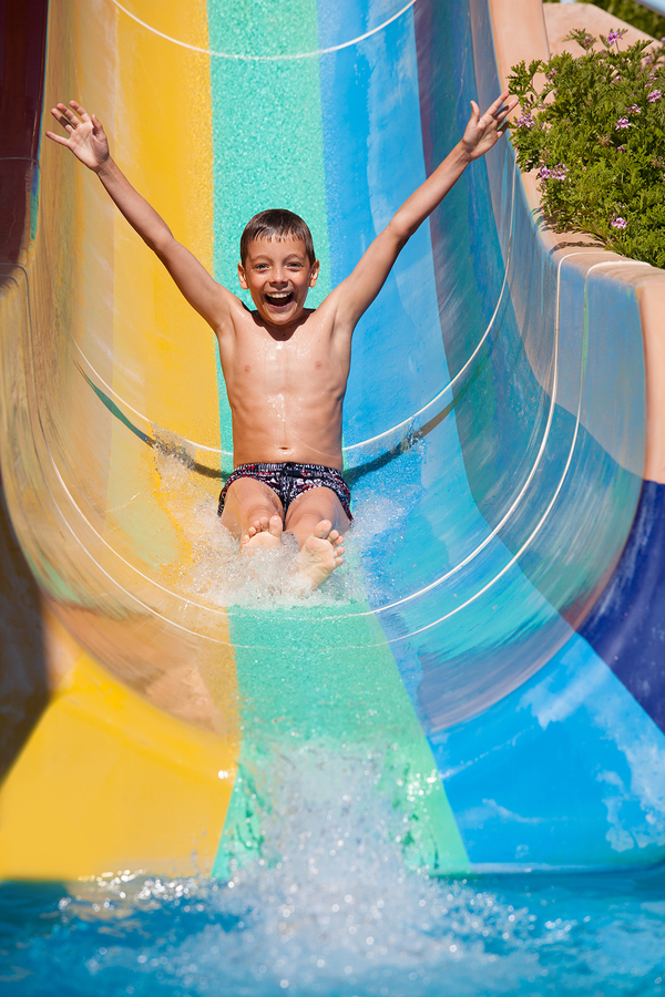 Play on the Atlantis Hotel waterslides near Lake Delton homes.