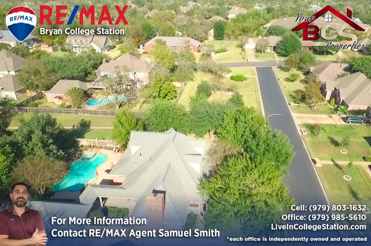 brandon heights college station texas aerial view of home with pool