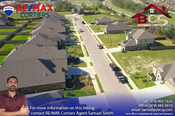 bridgewood neighborhood college station texas aerial view of street