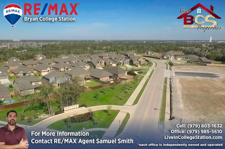 bridgewood neighborhood college station texas aerial view of subdivision