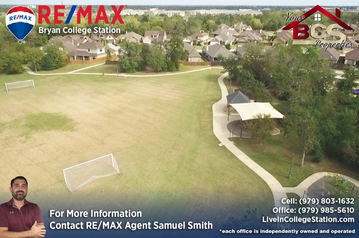castle rock subdivision college station texas aerial of recreational area with soccer goals