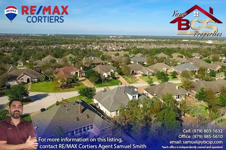castlegate neighborhood college station texas aerial view of suburb