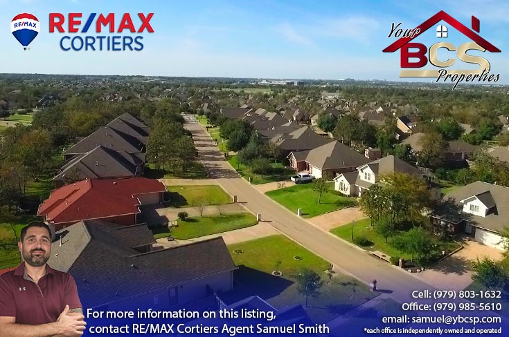 castlegate neighborhood college station texas aerial view of streets
