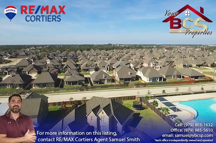 castlegate ii subdivision college station texas aerial view with pool