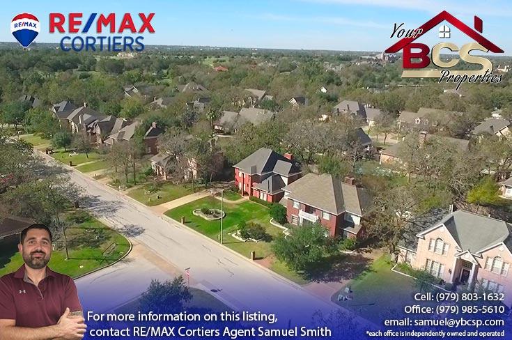 copperfield bryan texas aerial view of neighborhood