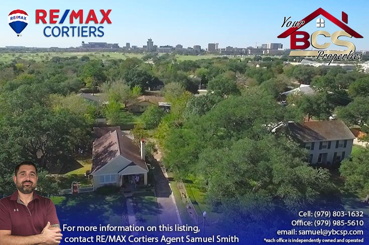 eastgate neighborhood college station texas aerial view with city