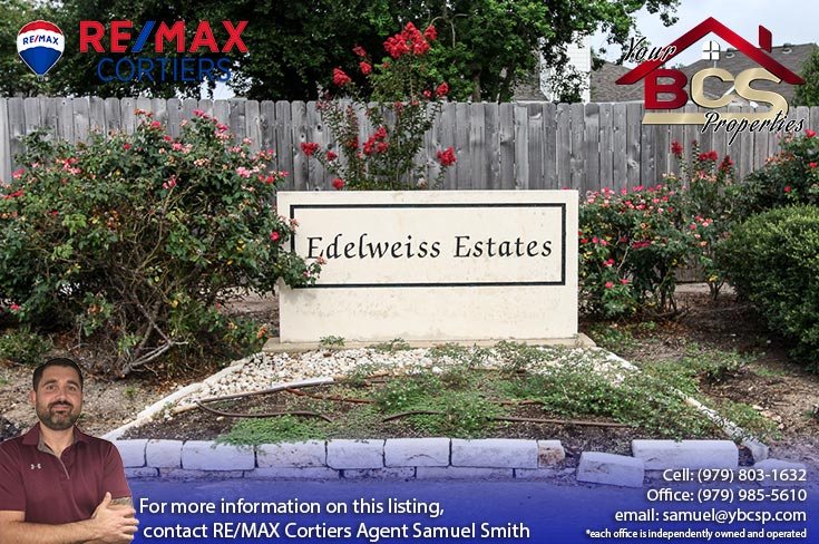 edelweiss estates subdivision college station texas entrance sign