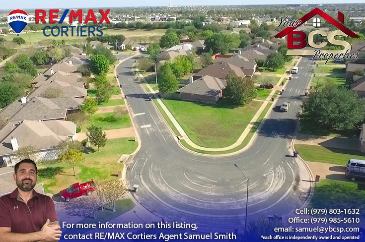 edelweiss estates subdivision college station texas aerial view of cul-de-sac