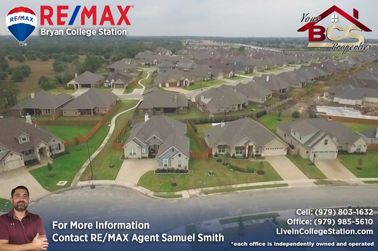 estates at creek meadows college station texas aerial view of subdivision