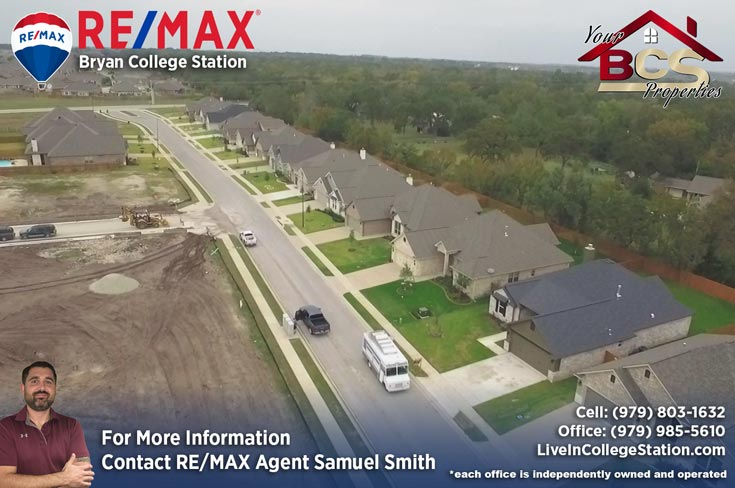 estates at creek meadows college station texas aerial view of street