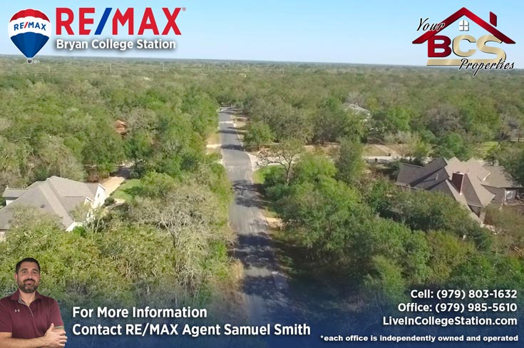 foxfire subdivision college station texas aerial view of street