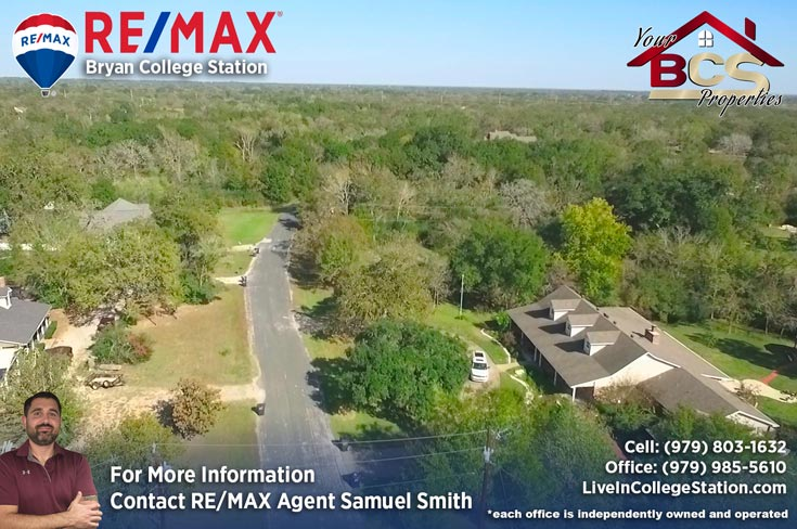 foxfire subdivision college station texas aerial view of greenspace and homes