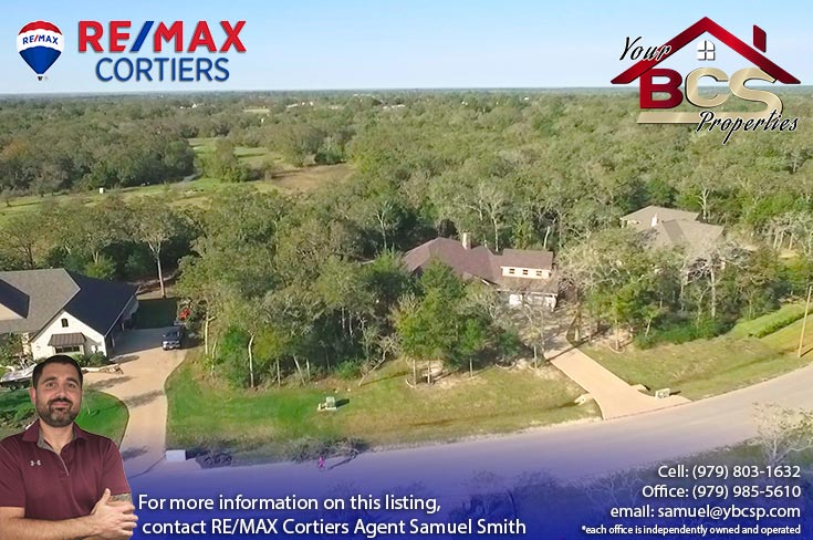 great oakes estates college station tx aerial view of home on large lot